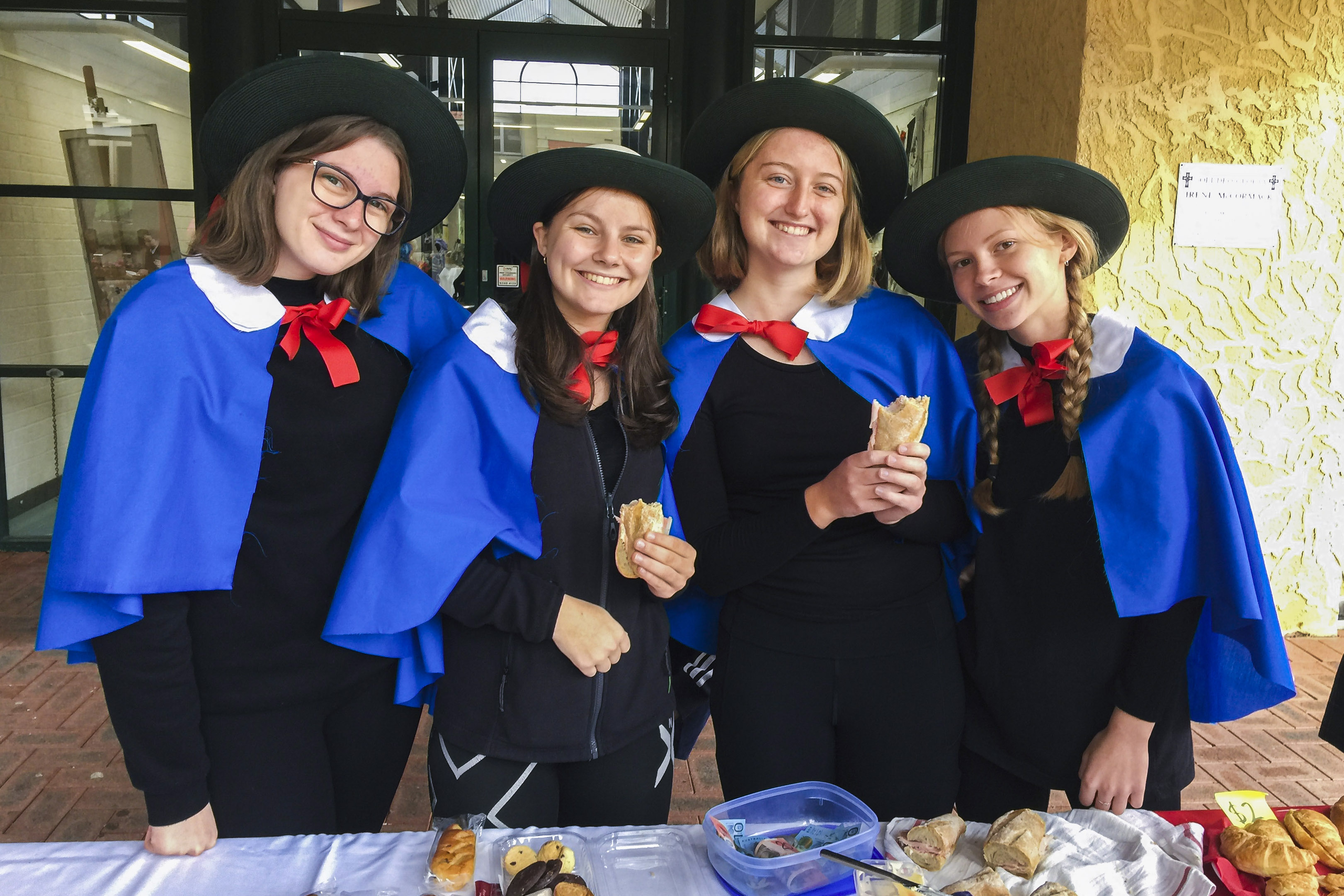 Santa Maria College French students fundraising for Catholic Mission during Languages' Cultural Day. Photo: Supplied.