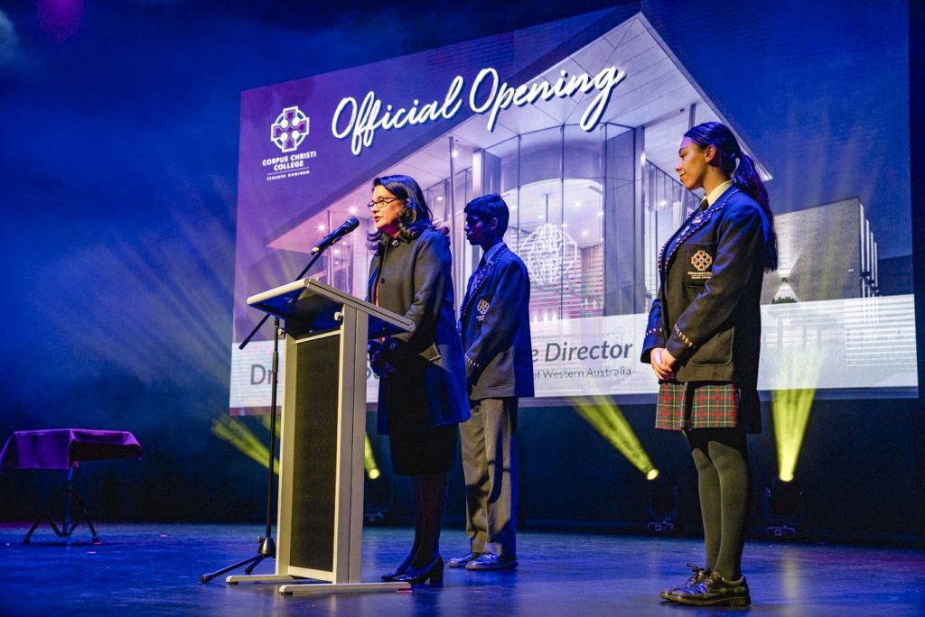 CEWA Executive Director Dr Debra Sayce addresses the audience at Corpus Christi College on 27 August. Photo: Supplied.