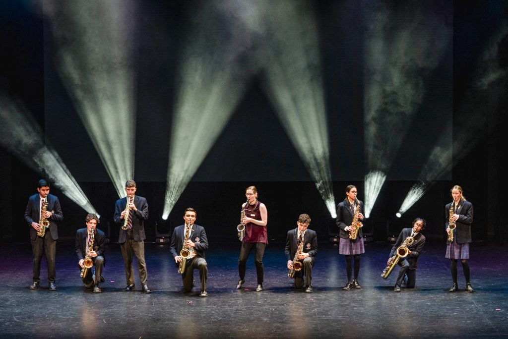 Musicians perform on the opening ceremony of Corpus Christi College's new auditorium. Photo: Supplied.
