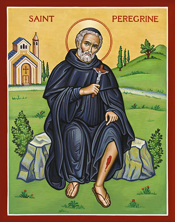 St Peregrine, the 12th ventury Servite brother who is the patron of cancer patients and those afflicted by other illnesses. Photo: Sourced.