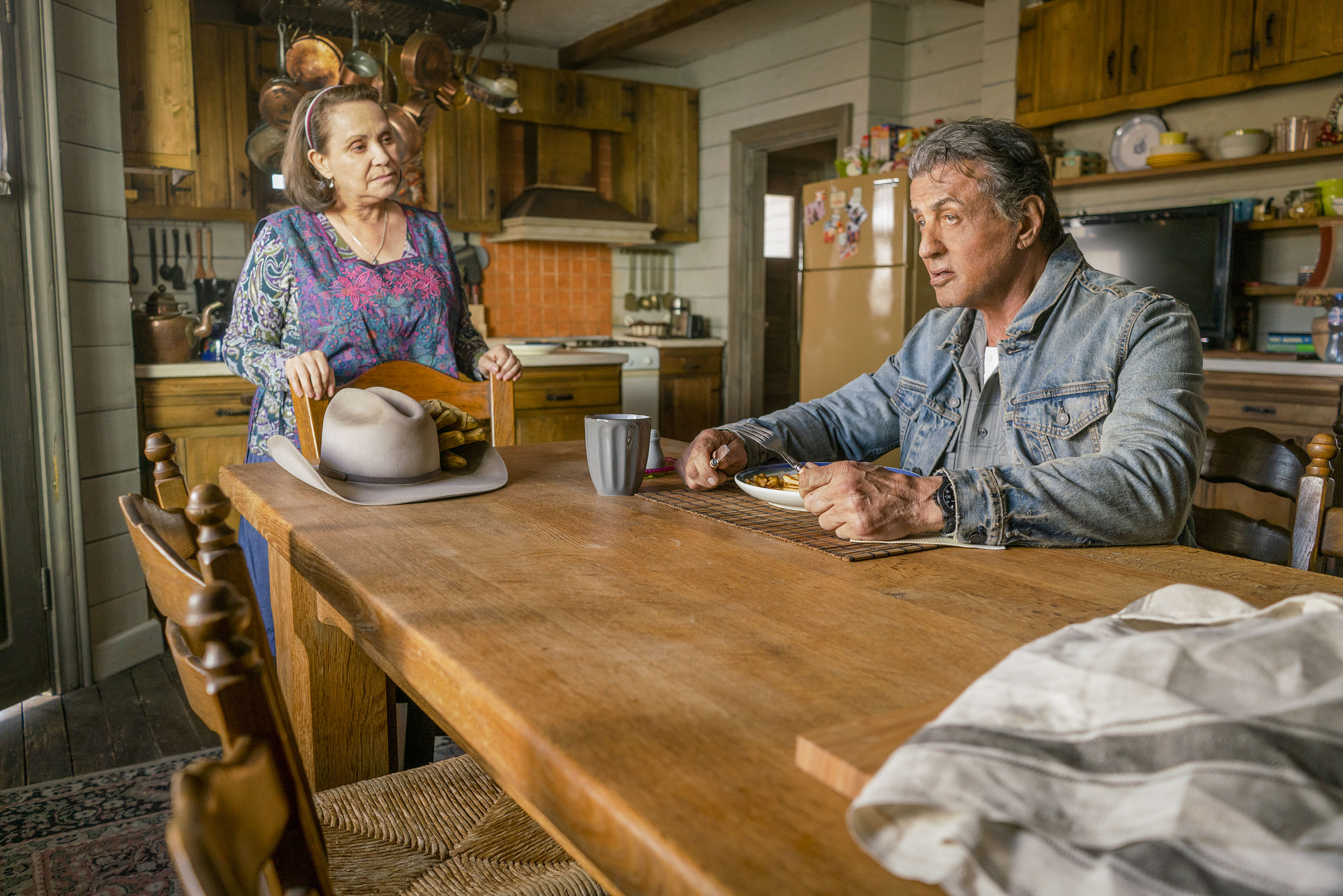 Adriana Barraza and Sylvester Stallone star in a scene from the movie