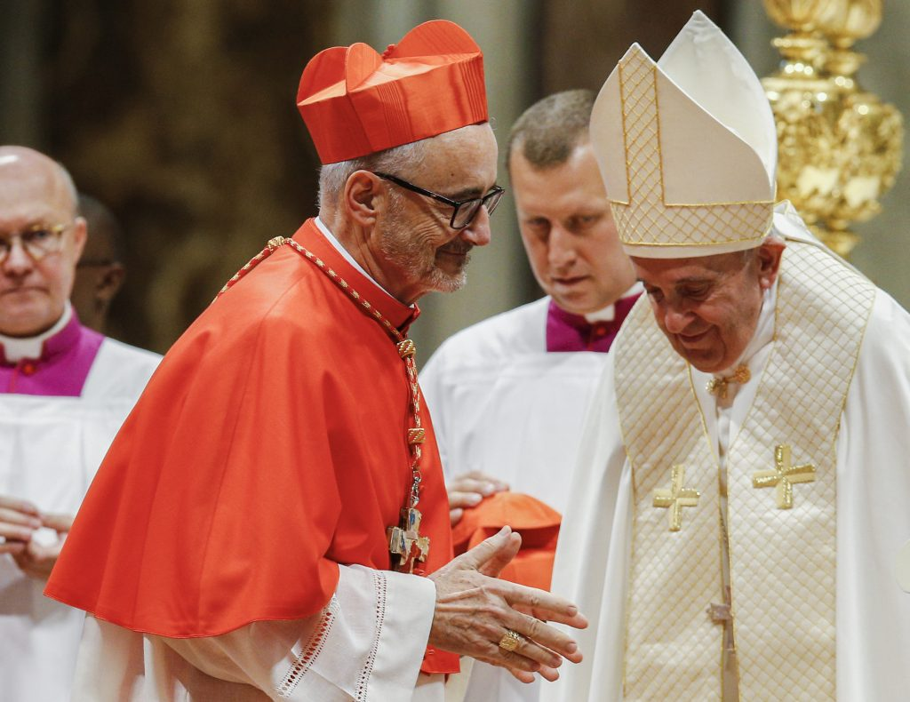New Canadian Cardinal Michael Czerny is pictured after receiving his red biretta from Pope Francis during a consistory for the creation of 13 new cardinals in St. Peter's Basilica at the Vatican on 5 October 2019. Photo: Paul Haring/CNS.