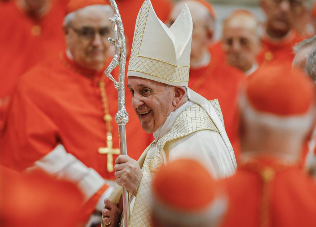 Pope Francis leaves in procession after a consistory for the creation of 13 new cardinals in St. Peter's Basilica at the Vatican on 5 October 2019. Among the new cardinals was Canadian Cardinal Michael Czerny, undersecretary of the Migrants and Refugee Section of the Vatican Dicastery for Promoting Integral Human Development. Photo: Paul Haring/CNS.
