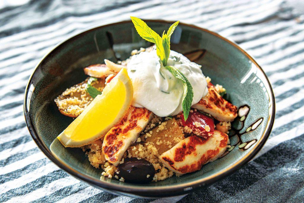 Greek-style halloumi couscous salad. Photo: Matthew Lau.