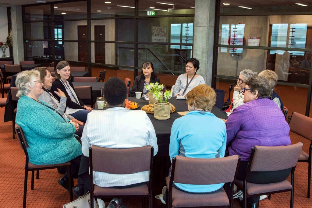 Wives of deacons gather for a workshop session in the Tannock Hall building of UNDA Fremantle. Photo: Matthew Lau.