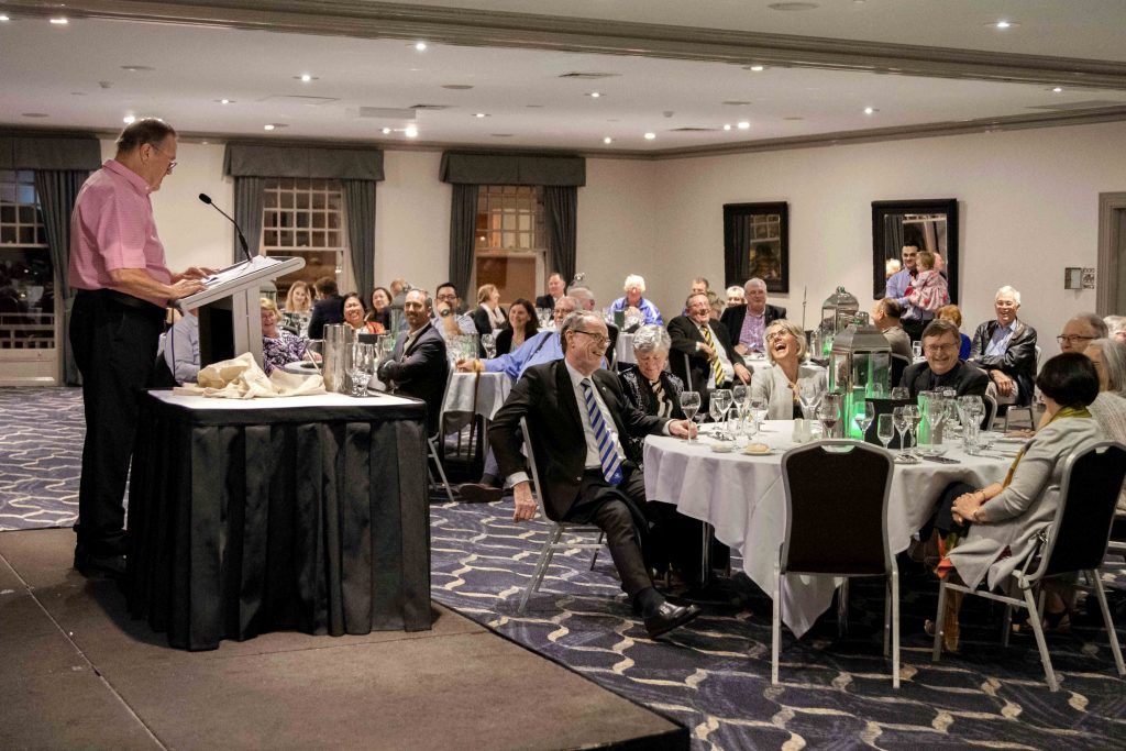 Deacon Tony Cunningham of Darwin Diocese keeps attendees entertained at the 2019 NAD Conference dinner, held at Esplanade Hotel on 5 October. Photo: Matthew Lau.