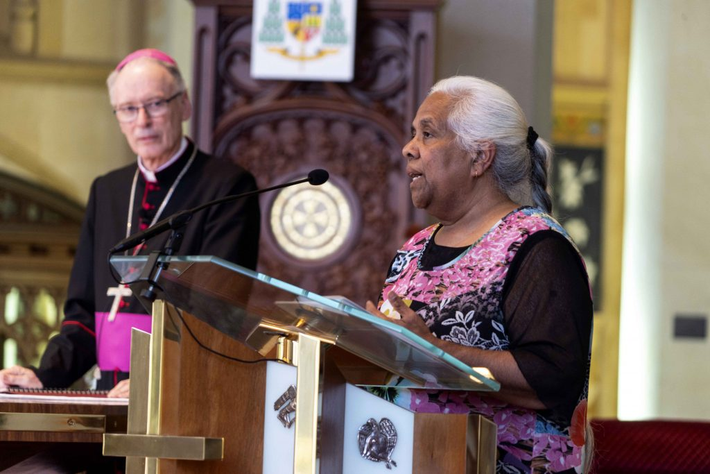 Aboriginal Catholic Ministry Director Donella Brown provided the Welcome to Country for the Interfaith Prayer Service on Sunday 29 September at St Mary's Cathedral. Photo: Josh Low.