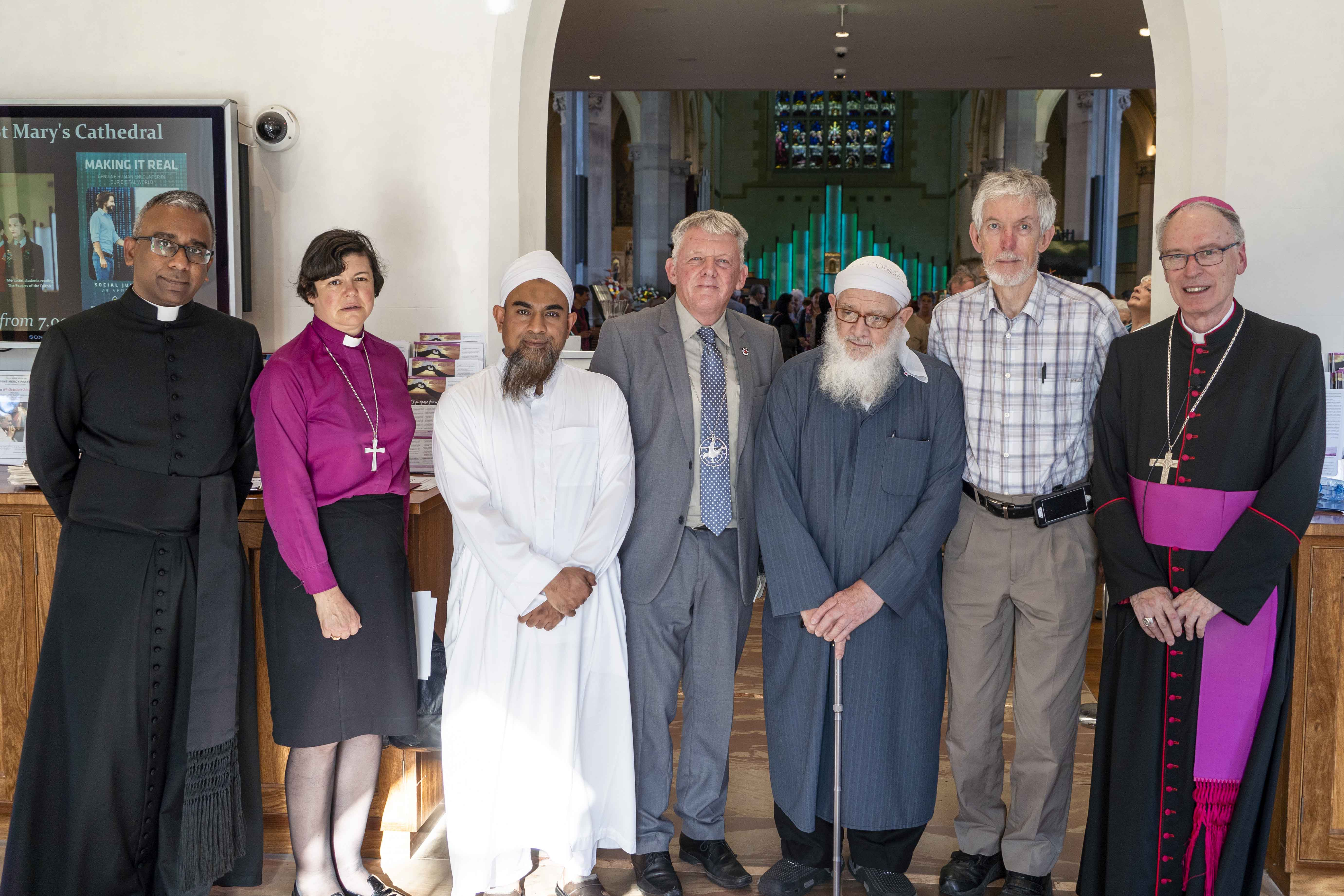 St Mary's Cathedral Dean Rev Dr Sean Fernandez, Anglican Bishop Kate Wilmott, Perth Mosque Iman Mohammed Shakeeb, Uniting Church Moderator Rev Steve Francis, Dr Doug Bridge and Perth Catholic Auxiliary Bishop Don Sproxton came together in the spirit of prayer and dialogue on Sunday 29 September. Photo: Josh Low.