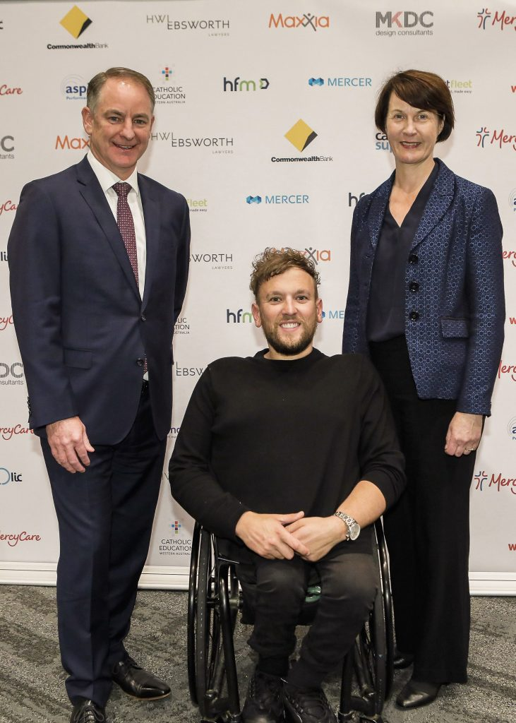 MercyCare CEO Anthony Smith, Orator Dylan Alcott and MercyCare Board Chair Mary Woodford at the MercyCare Oration 2019 at the Perth Convention and Exhibition Centre on September 23. Photo: MercyCare. Photo: MercyCare.