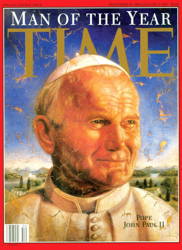 Saint John Paul II was Time Magazines Man of the year in 1994, the year he wrote Gratissimam Sane. Photo: Supplied.
