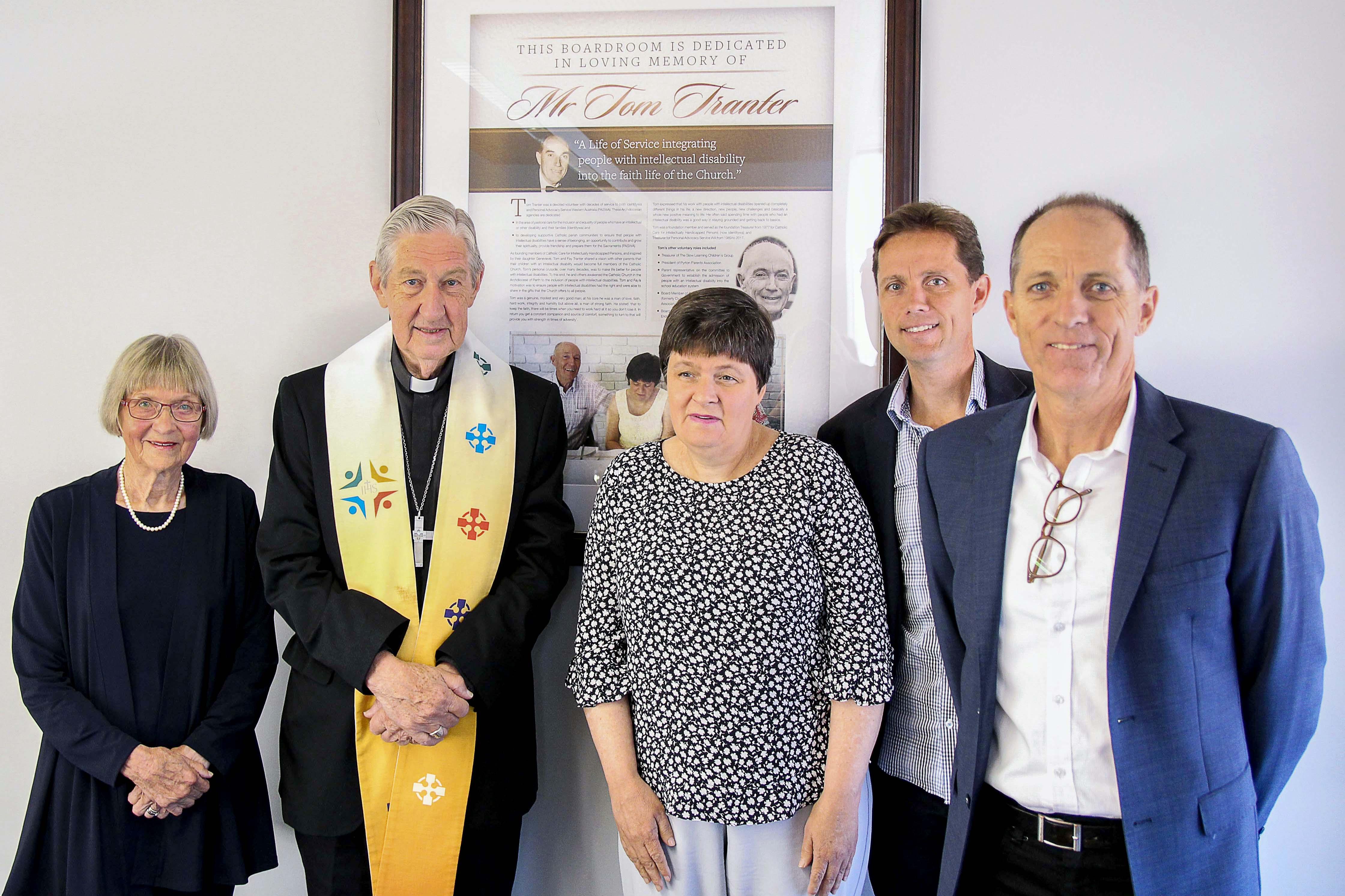 From left to right: Mrs Fay Tranter, Emeritus Archbishop Barry Hickey, Ms Genevieve Tranter, Mr James Tranter and Matthew Tranter. Photo: Identitywa.