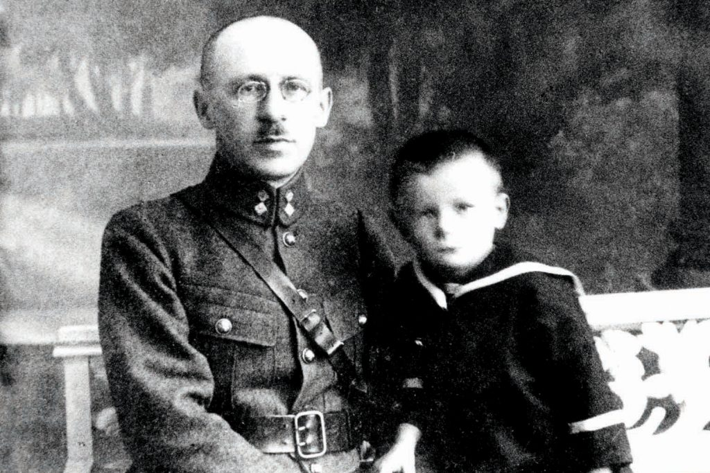 Saint John Paul II as a young boy, Karol Wojyla, with his father. Photo: Supplied.